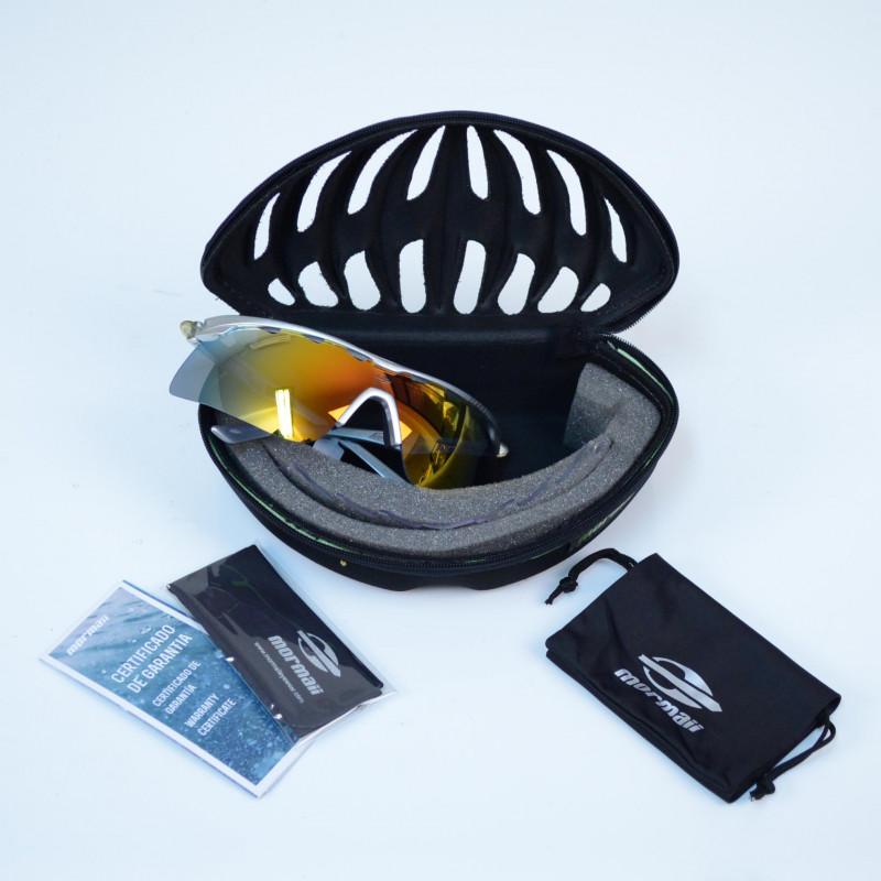 Óculos Sol Mormaii Athlon 2 Prata C  Preto e Amarelo Tamp Chumbo be7d6498fa